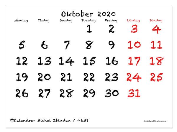 Kalender oktober 2020, 46MS. Schema för att skriva ut gratis.