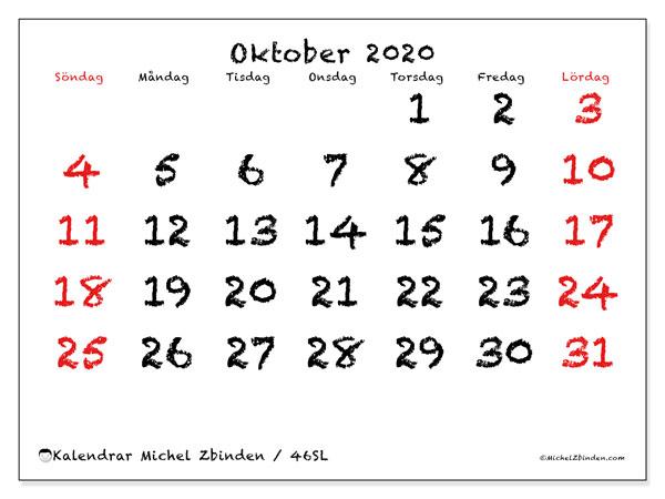 Kalender oktober 2020, 46SL. Kalender för gratis utskrift.