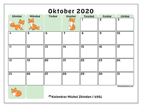 Kalender oktober 2020, 49SL. Månadskalender för att skriva ut gratis.