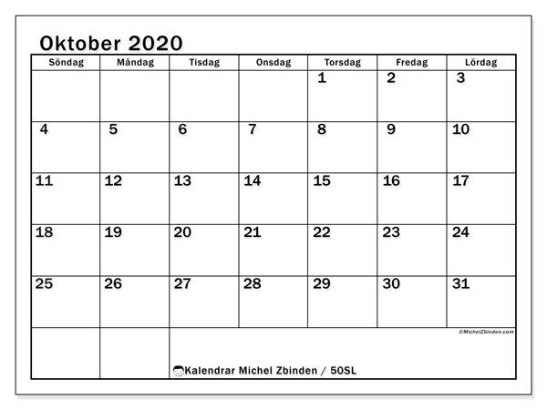 Kalender oktober 2020, 50SL. Kalender för gratis utskrift.