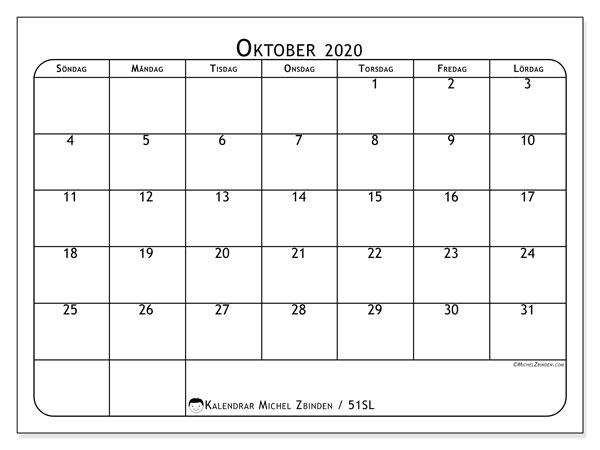 Kalender oktober 2020, 51SL. Gratis kalender att skriva ut.