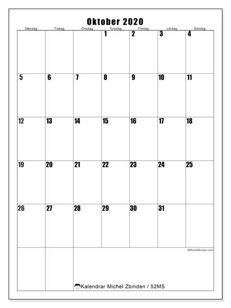 Kalender oktober 2020, 52MS. Gratis utskrivbara kalender.