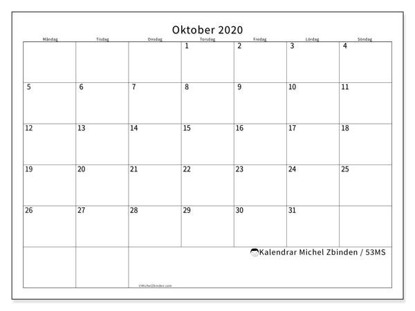 Kalender oktober 2020, 53MS. Almanak för att skriva ut gratis.