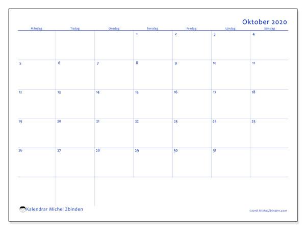 Kalender oktober 2020, 55MS. Gratis utskrivbara kalender.