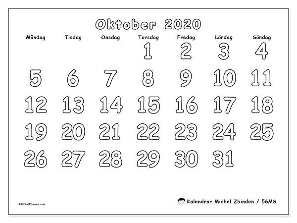 Kalender oktober 2020, 56MS. Almanak för att skriva ut gratis.
