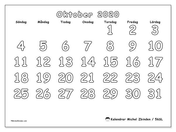 Kalender oktober 2020, 56SL. Schema för att skriva ut gratis.