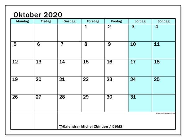 Kalender oktober 2020, 59MS. Almanak för att skriva ut gratis.