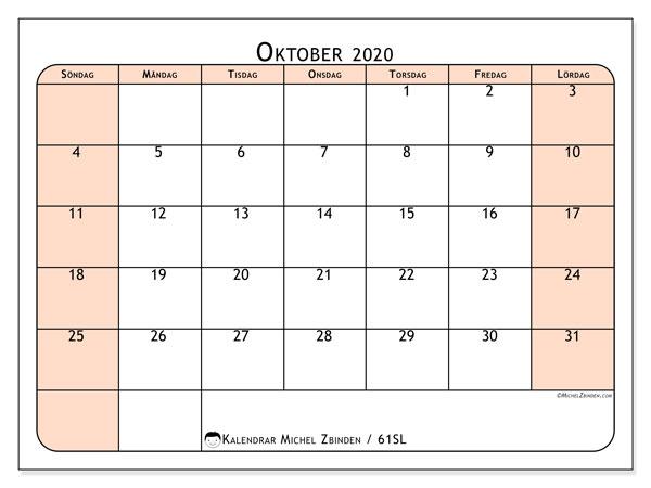 Kalender oktober 2020, 61SL. Månadskalender för att skriva ut gratis.