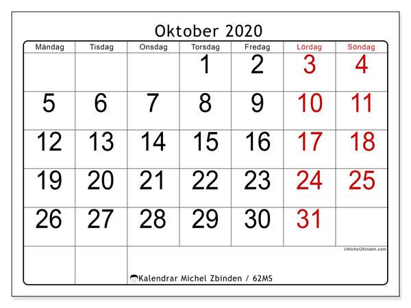 Kalender oktober 2020, 62MS. Gratis kalender att skriva ut.