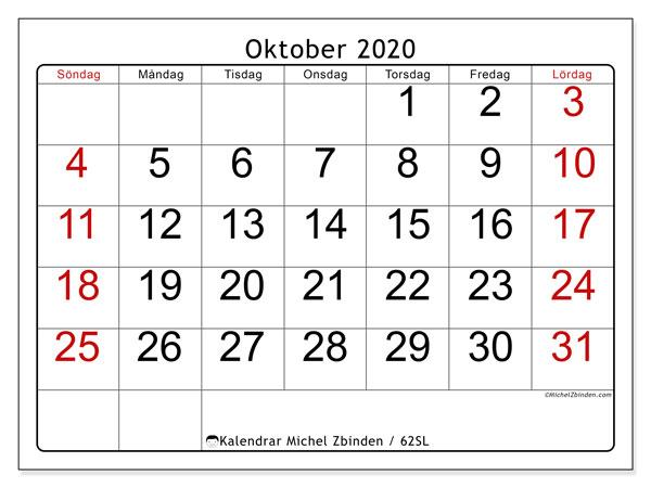 Kalender oktober 2020, 62SL. Schema för att skriva ut gratis.