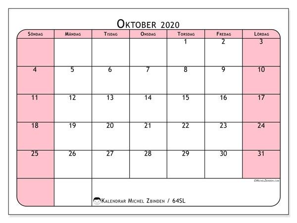 Kalender oktober 2020, 64SL. Kalender för att skriva ut gratis.