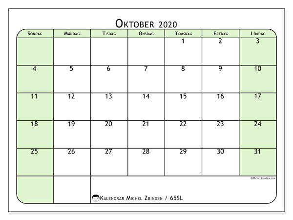 Kalender oktober 2020, 65SL. Kalender för att skriva ut gratis.