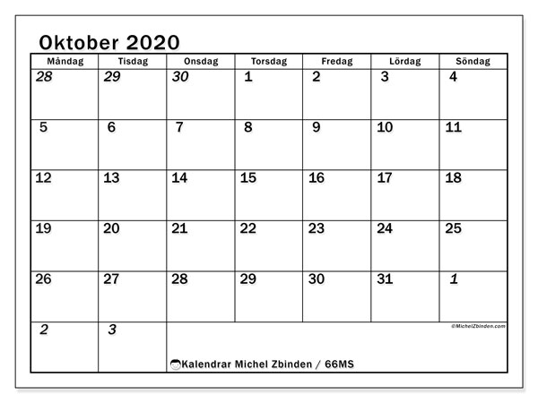 Kalender oktober 2020, 66MS. Gratis kalender att skriva ut.