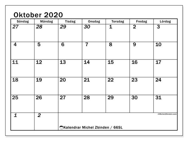 Kalender oktober 2020, 66SL. Kalender för att skriva ut gratis.
