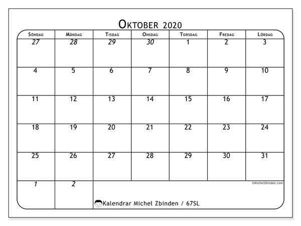 Kalender oktober 2020, 67SL. Almanak för att skriva ut gratis.