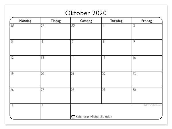 Kalender oktober 2020, 74MF. Kalender för gratis utskrift.