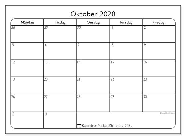 Kalender oktober 2020, 74SL. Gratis kalender att skriva ut.