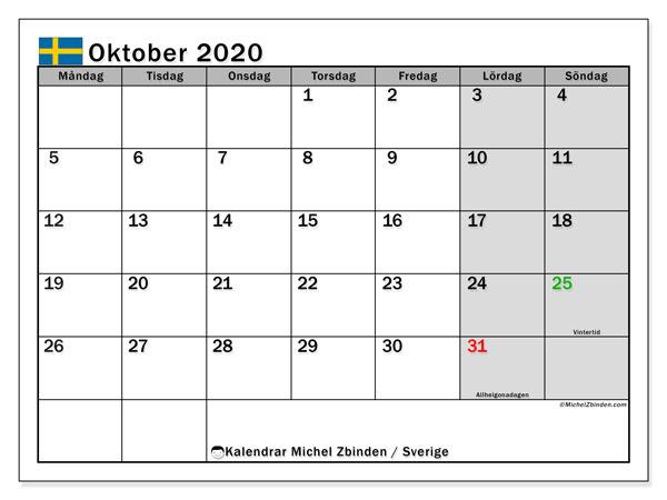 Kalender oktober 2020, med semester i Sverige. Kalender Semester att skriva ut gratis.