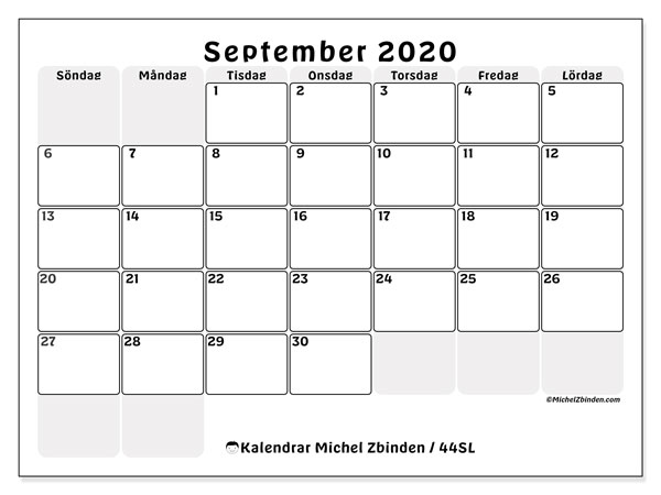 Kalender september 2020, 44SL. Gratis utskrivbara kalender.