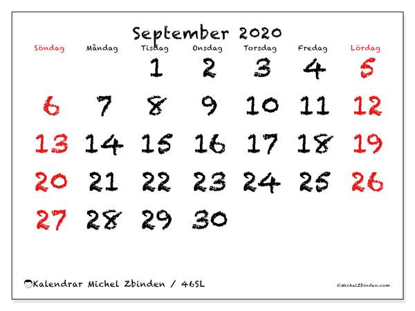 Kalender september 2020, 46SL. Gratis kalender att skriva ut.