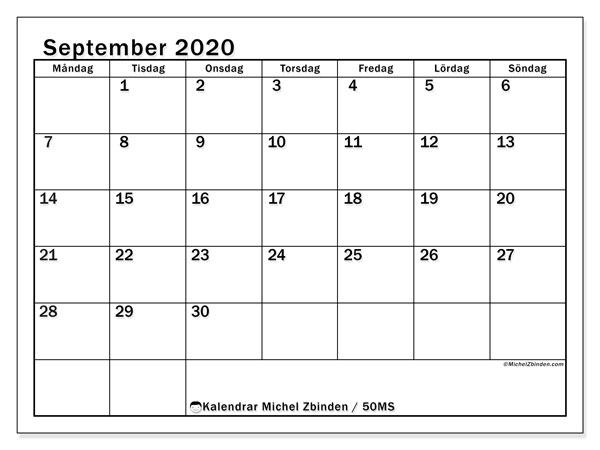 Kalender september 2020, 50MS. Schema för att skriva ut gratis.