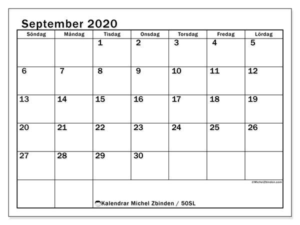 Kalender september 2020, 50SL. Schema för att skriva ut gratis.