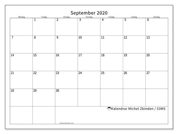 Kalender september 2020, 53MS. Gratis utskrivbara kalender.