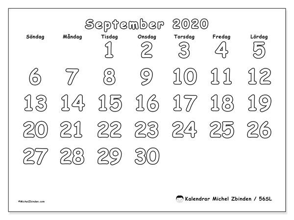 Kalender september 2020, 56SL. Kalender för gratis utskrift.