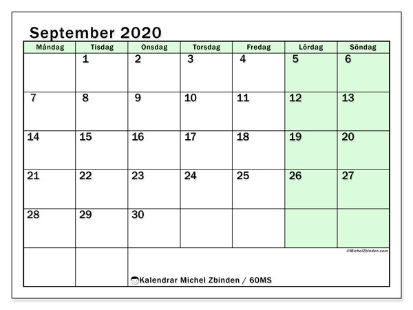 Kalendrar september 2020 - MS, 60