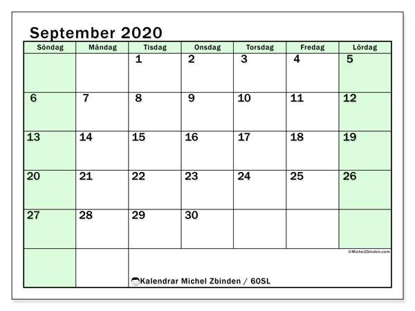 Kalender september 2020, 60SL. Almanak för att skriva ut gratis.