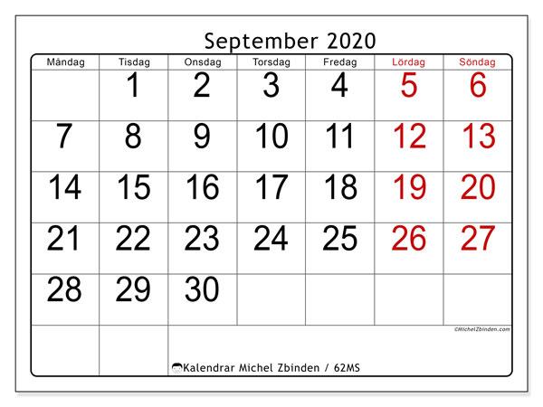 Kalender september 2020, 62MS. Gratis kalender att skriva ut.