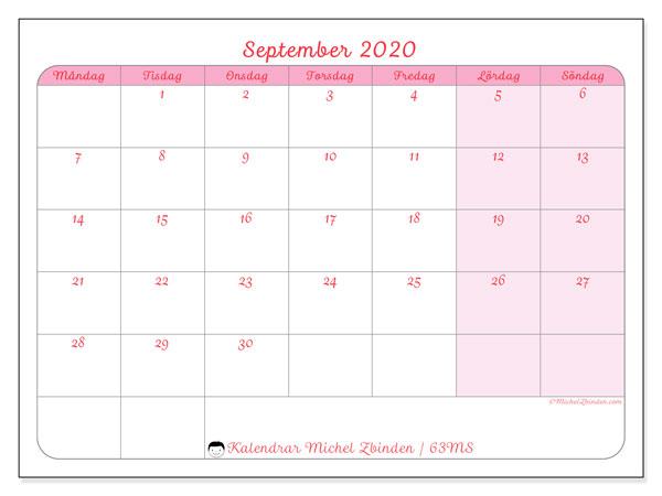 Kalender september 2020, 63MS. Gratis utskrivbara kalender.