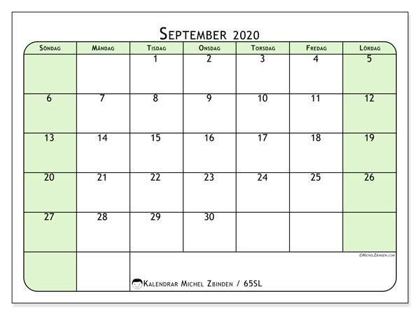 Kalender september 2020, 65SL. Månadskalender för att skriva ut gratis.