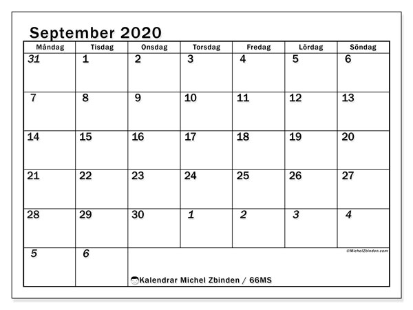 Kalendrar september 2020 - MS, 66