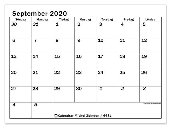 Kalender september 2020, 66SL. Gratis utskrivbara kalender.