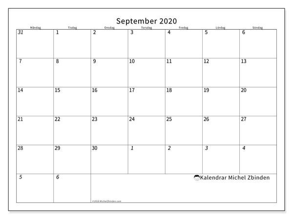 Kalender september 2020, 70MS. Almanak för att skriva ut gratis.