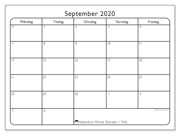 Kalender september 2020, 74SL. Gratis utskrivbara kalender.