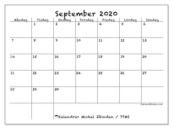 Kalender september 2020, 77MS. Kalender för gratis utskrift.