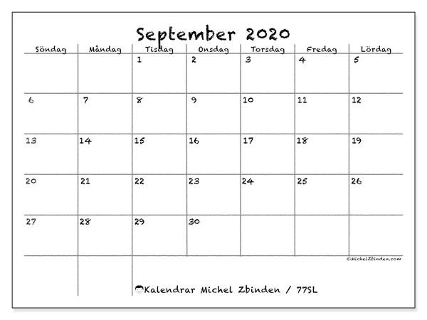 Kalender september 2020, 77SL. Schema för att skriva ut gratis.