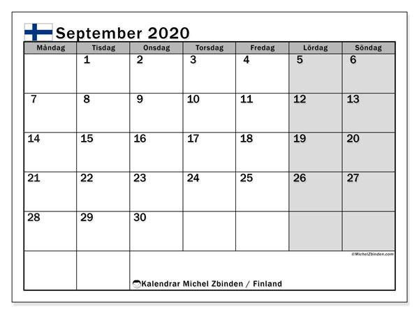 Kalender september 2020, med semester i Finland. Kalender för gratis utskrift med helgdagar.