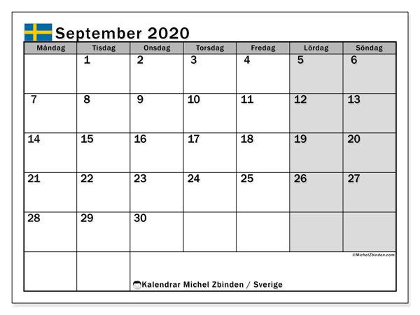 Kalender september 2020, med helgdagar i sverige. Månadskalender för att skriva ut gratis.