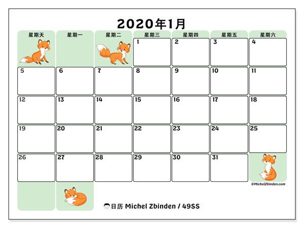 日历2020年1月, 49SS. 本月日历可免费打印.