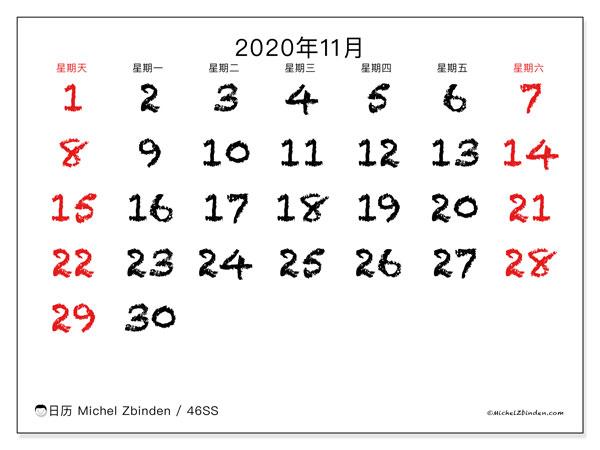 日历2020年11月, 46SS. 组织者免费打印.
