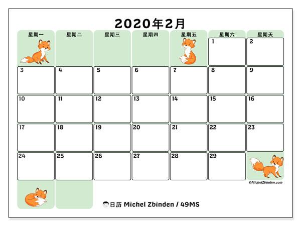 日历2020年2月, 49MS. 组织者免费打印.