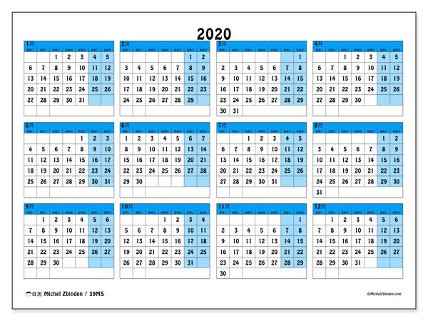 日历2020, 39MS. 免费打印计划.