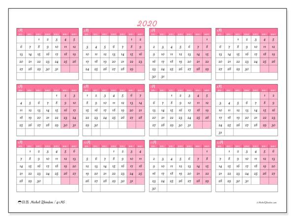 日历2020, 41MS. 免费日历打印.