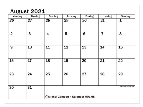 Kalendere til at udskrive, august 2021, 501MS