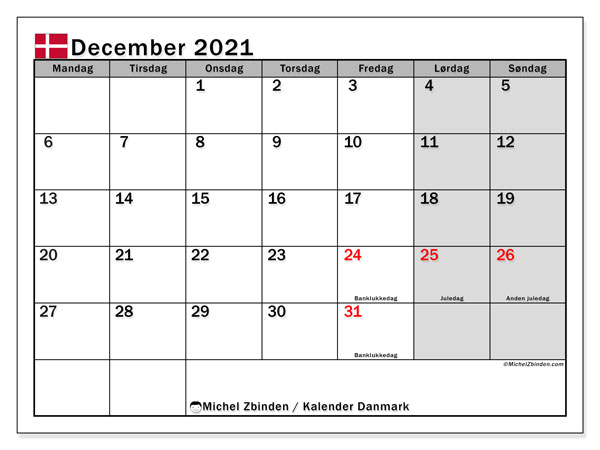 Kalendere til at udskrive, December 2021, Helligdage