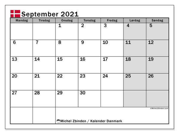 Kalendere til at udskrive, September 2021, Helligdage