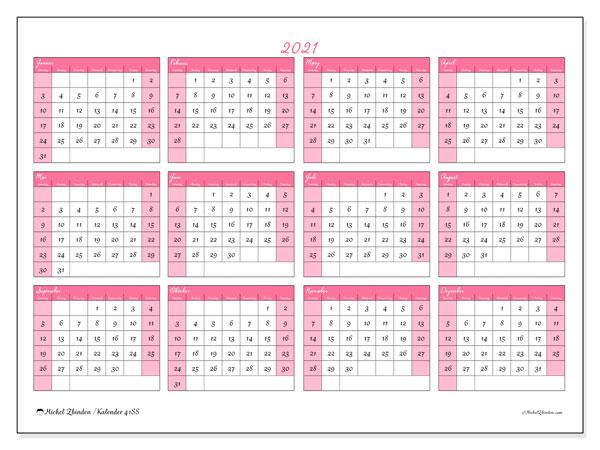 Kalender 2021, 41SS. Kalender für das Jahr zum kostenlosen ausdrucken.